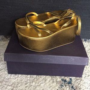 Prada Gold Platform Vintage Sandals